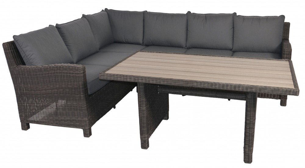 rattan lounge garnitur eckbank taupe farben mit tisch graue polywood platte online bestellen. Black Bedroom Furniture Sets. Home Design Ideas