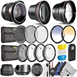 58MM Professional Accessory Kit for Canon EOS Rebel DSLR Bundle with Altura Photo Fisheye - Wide Angle and Telephoto Lenses