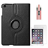 DMG Full 360 Rotating Cover Case For Apple Ipad Mini 3 (Black) + AUX Cable + Matte Screen