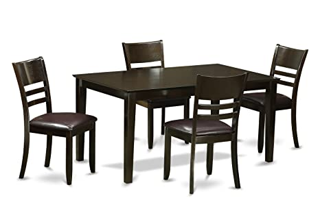 East West Furniture CALY5-CAP-LC 5-Piece Dining Table Set