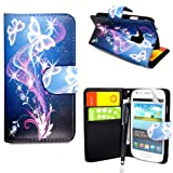 CONTINENTAL27 For Samsung Galaxy S3 S III Mini i8190 New Printed ULTRA BUTTERFLY STYLE 7 Book Type Pouch Side Opening With Card Slots Stylish PU Leather Horizontal Wallet Flip Magnetic Closure Secure Phone Case Cover WITH FREE STYLUS PEN & SCREEN GUARD