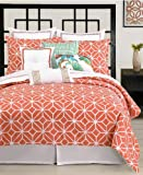 Trina Turk Bedding, Palm Springs Coral White King Sheet Set