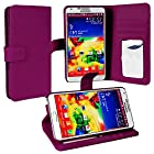 myLife Plum Purple {Classy Design} Faux Leather (Card, Cash and ID Holder + Magnetic Closing) Slim Wallet for Galaxy Note 3 Smartphone by Samsung (External Textured Synthetic Leather with Magnetic Clip + Internal Secure Snap In Closure Hard Rubberized Bumper Holder)