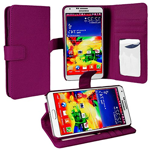 Mylife Plum Purple {Classy Design} Faux Leather (Card, Cash And Id Holder + Magnetic Closing) Slim Wallet For Galaxy Note 3 Smartphone By Samsung (External Textured Synthetic Leather With Magnetic Clip + Internal Secure Snap In Closure Hard Rubberized Bum