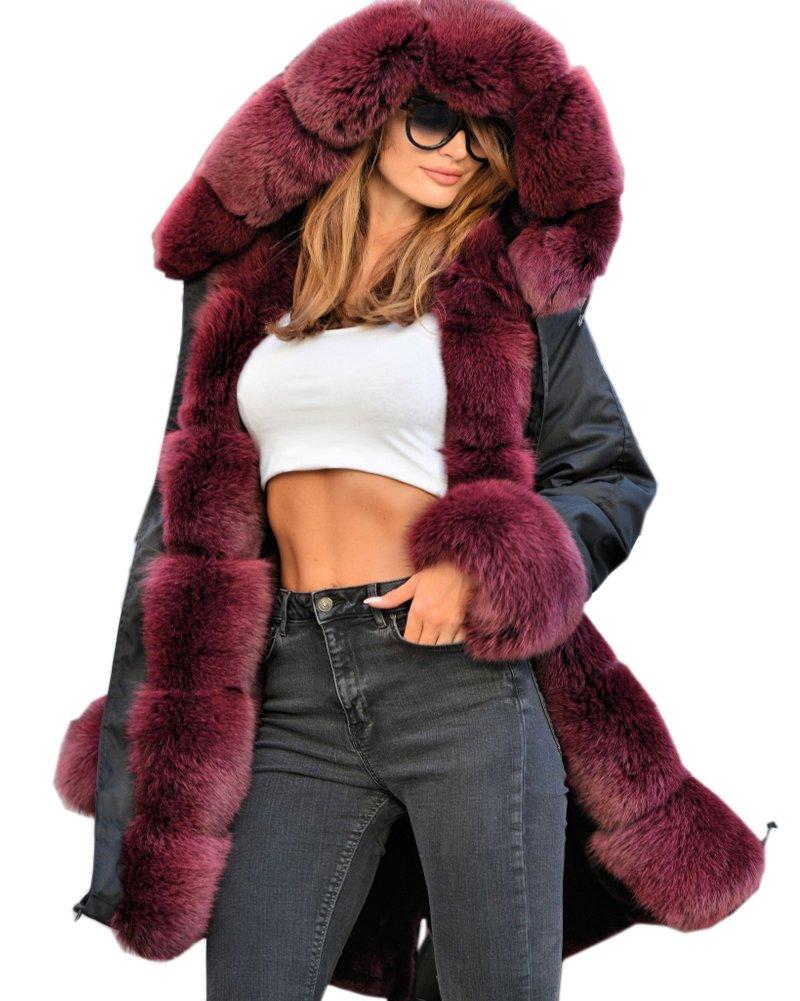 Roiii Vintage Women Military Faux Fur Hooded Winter Warm Coat Ladies Jacket Size 8-18 0