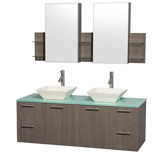 Wyndham Collection Amare 60 inch Double Bathroom Vanity in Grey Oak with Green Glass Top with Bone Porcelain Sinks, and Medicine Cabinets