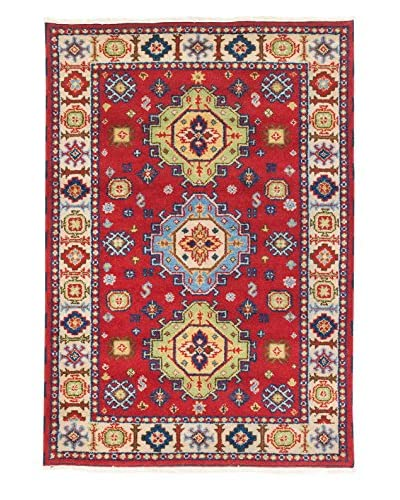 "eCarpet Gallery One-of-a-Kind Hand-Knotted Royal Kazak Rug, Cream/Red, 4' 2"" x 6'"