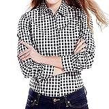 Cekaso Women's Gingham Shirt Cotton Slim Fit Long Sleeve Button Up Plaid Shirt, Black, USsizeM=TagsizeXXL
