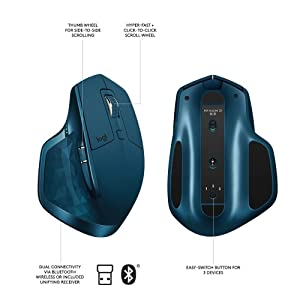 Logitech MX Master 2S Wireless Mouse Compatible with Apple Mac and Windows Computers (Bluetooth or USB) Midnight Teal (Renewed) (Color: Midnight Teal, Tamaño: MX Master 2S)