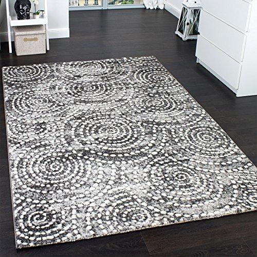 Velours Kurzflor Teppich - Winchester - Tepich Kreiss Muster in Grau, Grösse:120x170 cm