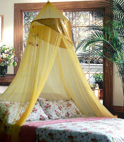 Gold jeweled bling princess canopy by sid for Gold bed canopy