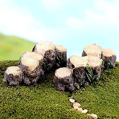 BESTIM INCUK Miniature Fairy Garden Tree Stamp Bridge Ornament Dollhouse Plant Pot Figurine DIY Outdoor Decor Home Decoration