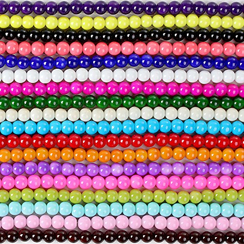 RUBYCA 2 Strings Mix Lot Assorted Round Opaque Coated Loose Glass Beads Jewelry Making Beading 8mm (The Glass Furnace compare prices)