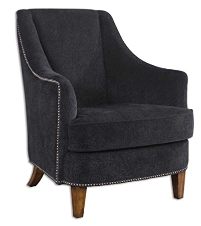 Luxe Plush Black Armchair with Sculpted Fabric and Nailhead Trim