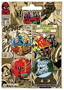 Posters: Marvel Comics Badge Pack - Set 1, Fantastic Four, X-Men, Spiderman, Silver Surfer - 4 X 38mm Badges (6 x 4 inches)