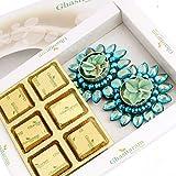 Ghasitaram Gifts Chocolates - White Box Chocolate Hamper With Blue T-lites