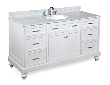 Amelia 60-inch Single Sink Bathroom Vanity (Carrara/White ...