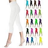 Lush Moda Seamless Capri Length Basic Cropped Leggings - Variety of Colors - White OS