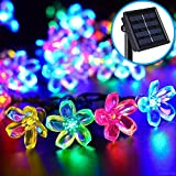 ZEEFO Flower Outdoor Solar String Lights 21ft 50 LED Solar Powered Fairy Blossom Lights Multi-Color Waterproof Night Light For Home - Garden - Lawn - Fence - Christmas Trees and Halloween Decorations