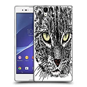 Snoogg sketch of curious little cat looking at something on the ground vector illu Designer Protective Back Case Cover For Sony Xperia T2 Ultra