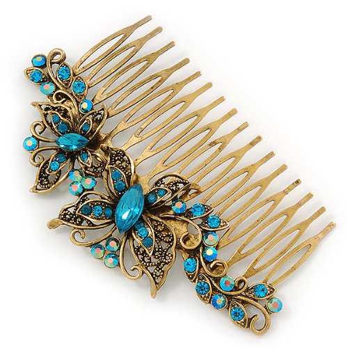 Vintage Inspired Teal Blue Swarovski Crystal 'Butterfly' Side Hair Comb In Antique Gold Tone - 105mm 6