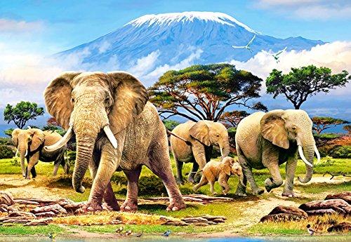 Puzzle 1000 Teile - Elefanten am Kilimandscharo - Zeichnung - Gemälde - Landschaft romantisches Motiv - Elefant Afrika - Tiere Tansania Kibo - Bergmassiv - Zootiere afrikanische Tiere - Steppe Savanne