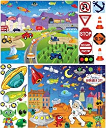 Mona Melisa Designs Peel and Stick Puzzle Wall Decorative Stickers, Cars/Space