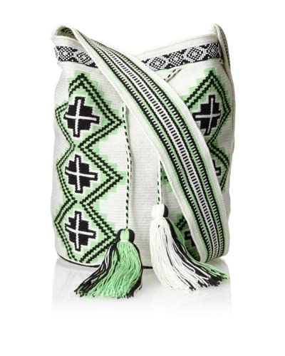 Amelia Toro Women's Neon Green/ Midnight/White Geometric Printed Satchel Bag W/ Beaded Details  – Neon Green/ Midnight/White