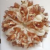Formal Elegant Thanksgiving Harvest Ribbon Wreath Handmade Deco Mesh