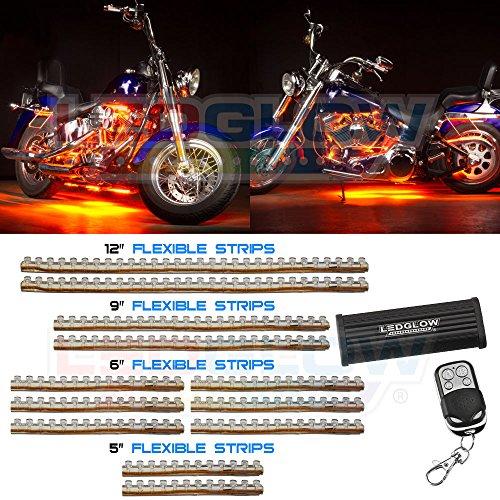 12Pc Orange Led Flexible Motorcycle Light Kit