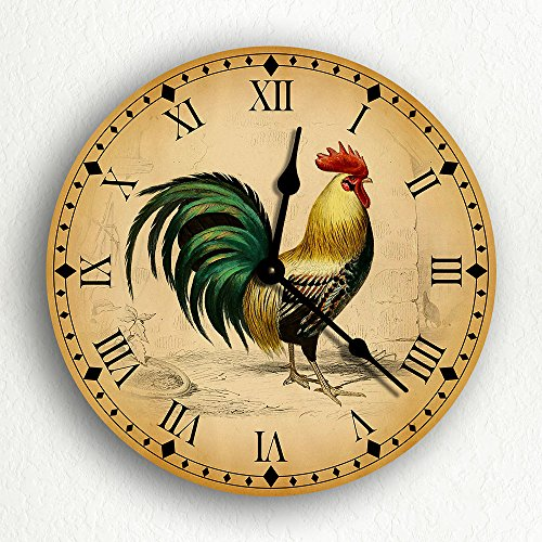 Rooster Traditional Kitchen Motif 10 Silent Wall Clock