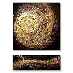 Neron Art - Handpainted Abstract Oil Painting on Gallery Wrapped Canvas Group of 2 pieces - Bergamo 24X32 inch (61X81 cm)