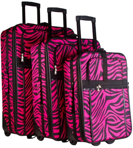 World Traveler Zebra Print Collection 3 Piece Expandable Luggage Set