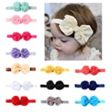 Baby Headbands Turban Knotted, Girl's Hairbands for Newborn,Toddler and Childrens 14pcs Bow Hair Band (Multi) (Color: Multi, Tamaño: 14 inch)