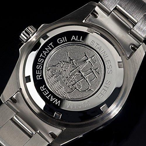 Gigandet Automatik Herren-Armbanduhr Sea Ground Taucheruhr Uhr Datum Analog Edelstahlarmband Schwarz Silber G2-002 7