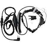 Rukey 2 Pin Tactical Military Flexible Throat Mic Air Covert Acoustic Tube Earpiece Headset Adjustable Volume with PTT Mic for Motorola Radio XTN500 XV2100 CLS1413 CP200 GP88