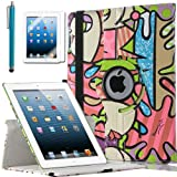 ULAK Premium Patterned PU Leather 360 Degree Rotating Smart Stand Case Cover for Apple iPad 2 iPad 3 iPad 4 New iPad with Screen Protector Stylus and Auto Wake/Sleep Function (Green Graffiti)