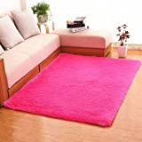 Hughapy® Home Decorator Modern Shag Area Rugs Super Soft Solid Living Room Carpet Bedroom Washable Rug and Carpets,80 * 120cm(Rose Red)