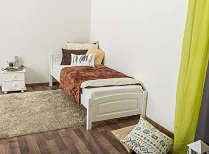 Einzelbett/ Gästebett Kiefer massiv Vollholz weiß lackiert 98, inkl. Lattenrost - Liegefläche 80 x 200 cm