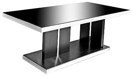 Twilight in vetro nero–Tavolo da pranzo piano in vetro e legno di frassino nero finito base