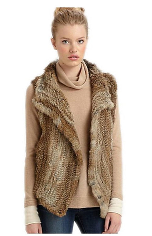 YR Lover Damen Rnitted Kanichen Pelz Warm Winter Weste Mantel
