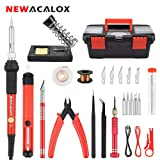Soldering Iron Kit DIY Adjustable Temperature 60W Welding Solder Gun Set, 27PCS IRON Tips Desoldering Pump Wire Stand in NEWACALOX Portable-Box (Color: Red, Tamaño: Full Size)