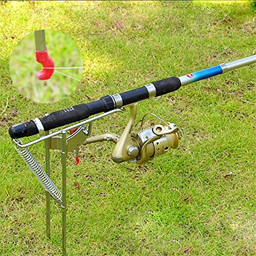 Automatic hook setter for Spring loaded fishing rod holder