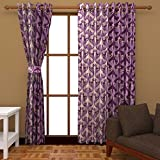 Ab home decor Polyester Door Curtains (Set of 2)- 7 Feet x 4 Feet,Purple