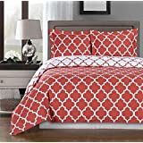 Coral and White Meridian King / Cal-king 3-piece Duvet-Cover-Set, 100 % Egyptian Cotton 300 TC