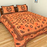 Jaipuri Cotton Bedsheet By Narsinh Enterprises Double Bedsheet With 2 Pillow Covers - Orange And Black