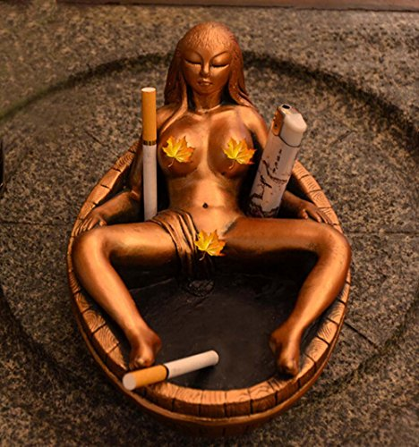 Jooyi® Vintage Personality Creative Eco-friendly Paint Ashtray Ornaments Table Ashtray Cigar Cigarettes Ash Tray Home Decoration Décor Fantasy Crafts Gifts (Sexy Women, Gold)