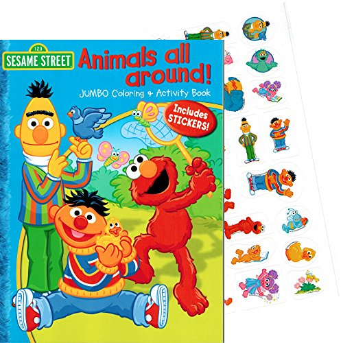 "Sesame Street Elmo & Friends ""Animals All Around"" Coloring Book with Stickers (96 Pages) - 1"