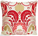 Red Traditional Design Decorative Pillow Throw Case Cream Silk Cushion Cover Osborne and Little Fernery