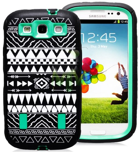 Mylife (Tm) Black And Mint Green - Tribal Print Armor Series (Durable Built In Screen Protector + Urban Body Armor Glove) Case For Samsung Galaxy S3 Gt-I9300 And Gt-I9305 Touch Phone (Thick Silicone Outer Gel + Tough Rubberized Internal Shell + Mylife (Tm